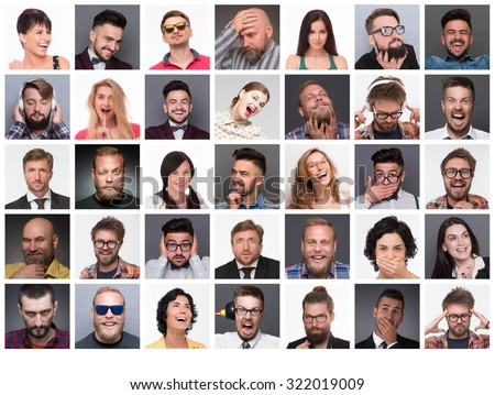Diverse people\'s faces. Collage of diverse multi-ethnic and mixed age people expressing different emotions and feelings.