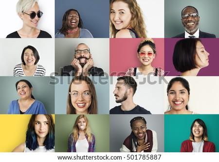diverse people smiling...