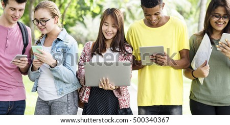 Diverse People Walking Technology Campus Concept #500340367