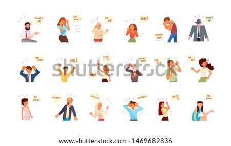 Diverse people with different emotions and dialog speech bubbles. Collage of mixed age range people expressing different emotions. Communication, teamwork and connection. Rastered Copy