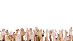 Diverse Raised Hands