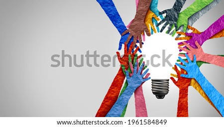 Diverse society thinking together and team ideas as a group of people joining hands into the shape of an inspirational light bulb as a community diversity metaphor with 3D render elements. Foto stock ©