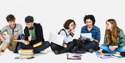 Diverse Students Doing Homework Together Studio Portrait