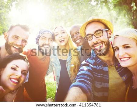 Diverse Summer Friends Fun Bonding Selfie Concept #411354781