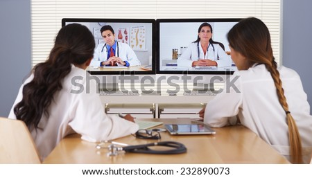 Diverse team of medical doctors having a meeting