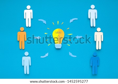 Diversed investors crowdfunding in start up, new idea on blue background, paper design, panorama #1452595277