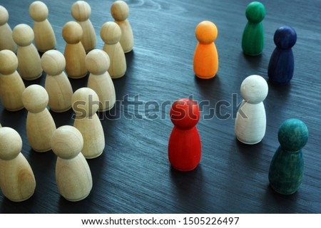 Diversity and Inclusion concept. Wooden and colored figurines. Stockfoto ©