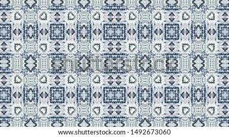 Diversity Borderless Patchwork. Indigo, Light, Aquamarine Zigzag with White. Aquarelle Endless Ornament. Boho Diverse Endless Fabric. Blue Unusual Geometry Asian Geometry.