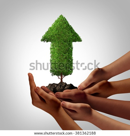 Diversity community working together for success concept as a group of multiethnic people hands full of soil holding up an arrow tree as a global cooperation and team empowerment metaphor.