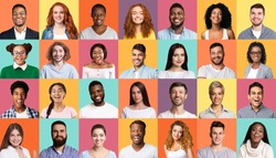 Diversity Concept. Mosaic Of People Portraits With Multiracial Smiling Faces On Colorful Backgrounds.