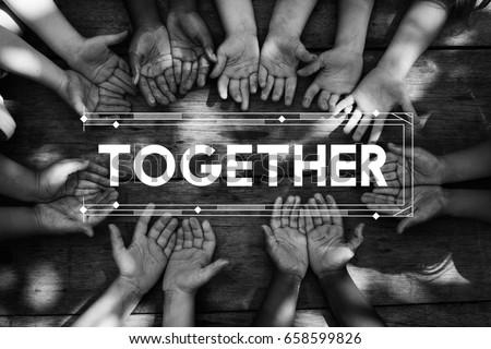 Diversity hands community together friendship