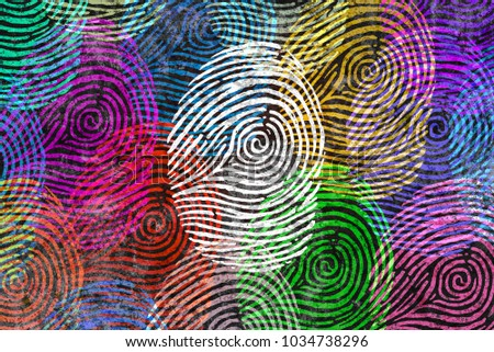 Diversity identity and privacy concept and personal private data symbol as diverse finger prints or fingerprint icons and census population in a 3D illustration style.