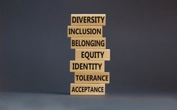 Diversity, inclusion symbol. Diversity belonging inclusion equity identity tolerance acceptance words written on wooden block. Beautiful grey background. Diversity, inclusion and belonging concept.