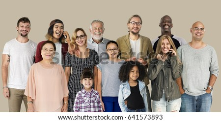 Diversity of People Generations Set Together Studio Isolated #641573893