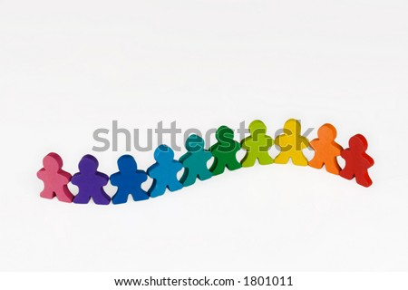 Diversity - Social and Business concepts illustrated with colorful wooden people.