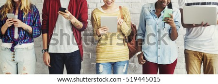 Diversity Students Friends Using Digital Devices Concept
