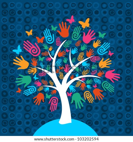 Diversity tree hands illustration background.
