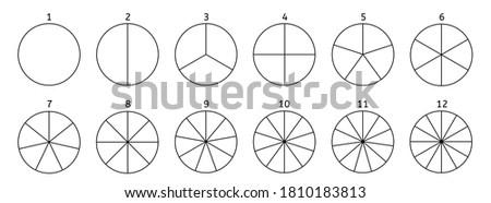 Divide circle. Black segment element. round 12 section. Stock foto ©