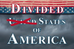Divided United States of America type with retro USA stars and stripes burlap ribbon and stormy sky