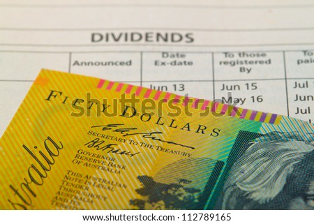 Dividend payout announcement.Concept of return on investment.