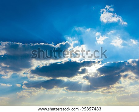 Divine Beauty Background of Blue Grand Skyscape - stock photo