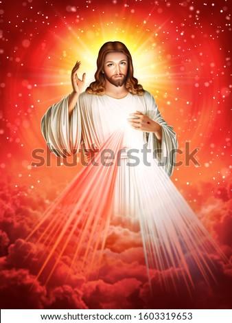 Divine Mercy of Jesus God of Christian Foto d'archivio ©