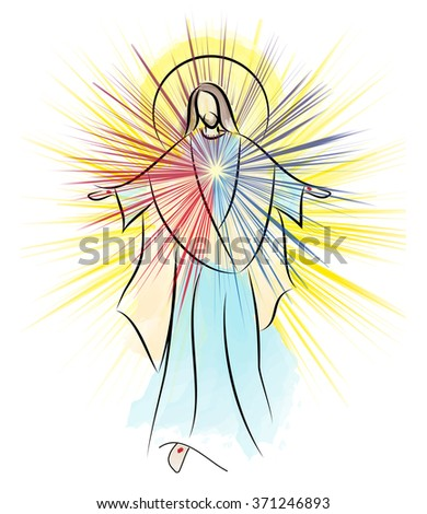 Divine Mercy, Sacred Heart of Jesus, Risen Lord  resurrection Easter color abstract illustration