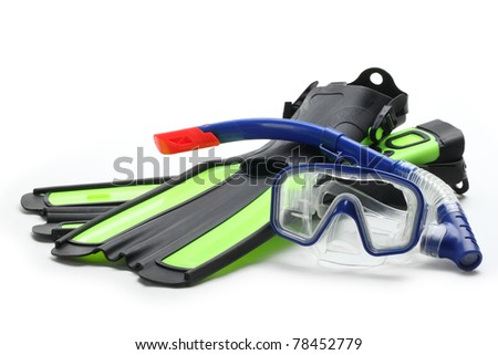 Diving equipment--Blue diving goggles,snorkel and flippers on white background.