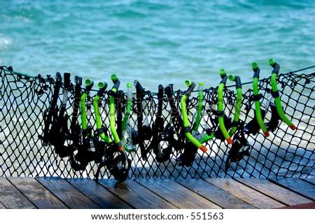 Diving equipment for rental at beach resort
