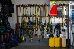 Diving equipment in a training center on the beach.
