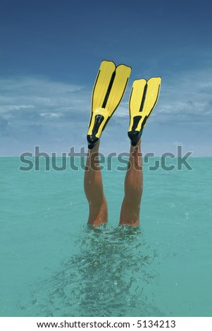 diving excercise - stock photo