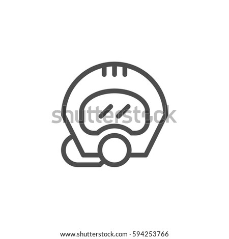 Diving helmet line icon isolated on white