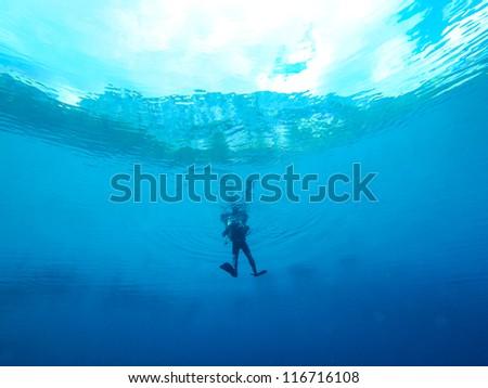 diving in alps - Gruenersee Austria - stock photo