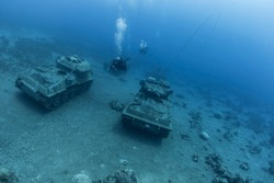 Diving in Jordan in Aqaba, where under water there are armored vehicles and tanks and other military equipment.