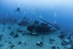 Diving in Jordan in Aqaba, where under water there is a helicopter and other military vehicles.