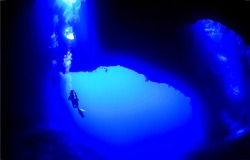 Diving panorama of underwater cave in depth abyss