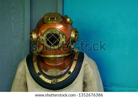 Diving suit and helmet,  Newport, Oregon #1352676386