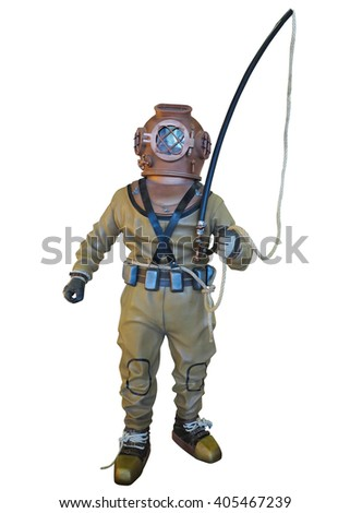 Diving suit equipment isolated over white background