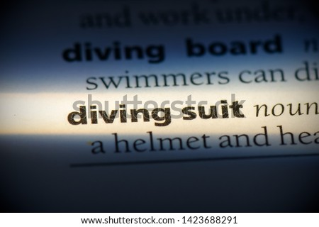 diving suit word in a dictionary. diving suit concept. #1423688291