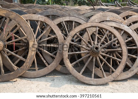 division of old wheel from a cart, Mae Sot, Thailand #397210561