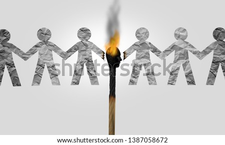 Divisive politics and a symbol for a divider politician and splitting social opinion or dividing to inflame society with political rhetoric to fan the flames of  hatred with 3D illustration elements. Foto d'archivio ©