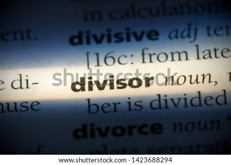divisor word in a dictionary. divisor concept. Foto stock ©