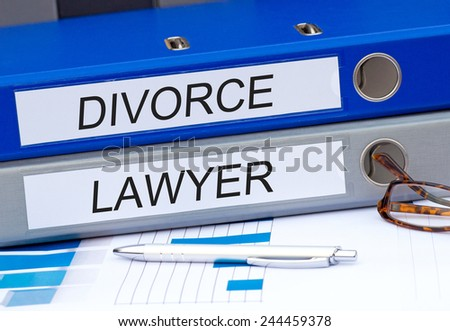 Divorce and Lawyer - two binders in the office #244459378