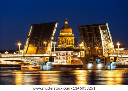Divorce Annunciation bridge, overlooking St. Isaac's Cathedral during the white nights. St. Petersburg, Russia