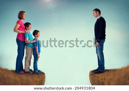 Divorce Concept Family Separation Man Woman And Children ...