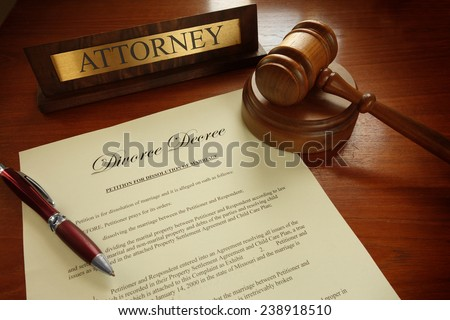 Divorce Decree with gavel and Attorney nameplate