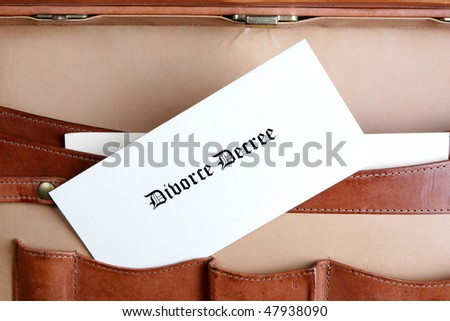 Divorce papers in a leather briefcase - horizontal