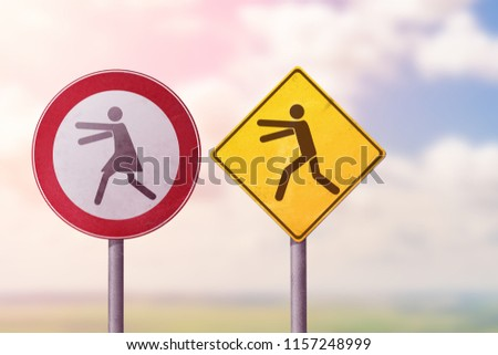Divorce, quarrel, conflict, rivalry, competition, panic - a man catches a woman. Road signs. #1157248999