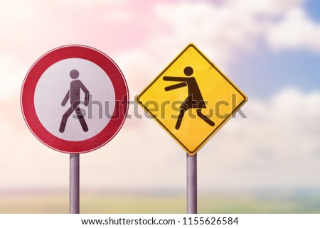 Divorce, quarrel, conflict, rivalry, competition, panic - a woman catches a man. Road signs. #1155626584