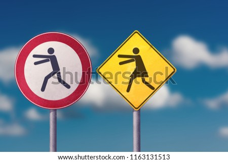 Divorce, quarrel, conflict, rivalry, competition, panic - a woman catches a man. Road signs. #1163131513